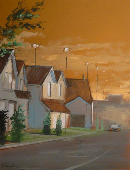 Banlieue au crépuscule Huile sur papier - 65 x 50 cm - 2000