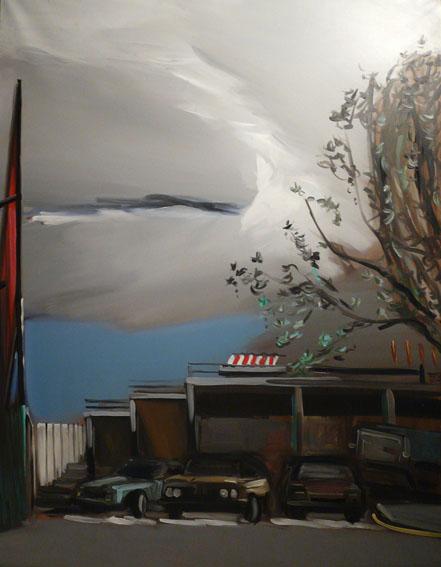Le panneau rouge Huile sur toile - 146 x 114 cm - 1991
