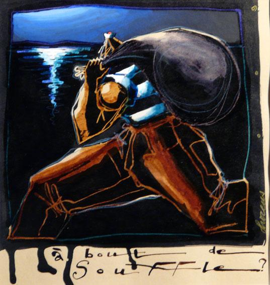 A bout de souffle ? Techniques mixtes sur papier - 26 x 24,5 cm - 2009