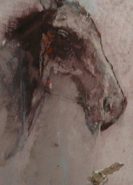 BRUNET - Cheval - acrylique et pastel 25x15.5