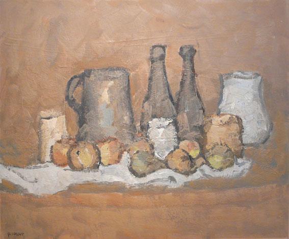 Bouteilles et fruits Huile - 50 x 60 cm - 2001