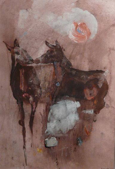Deux biches Acrylique et pastel - 40 x 27 cm - 2003