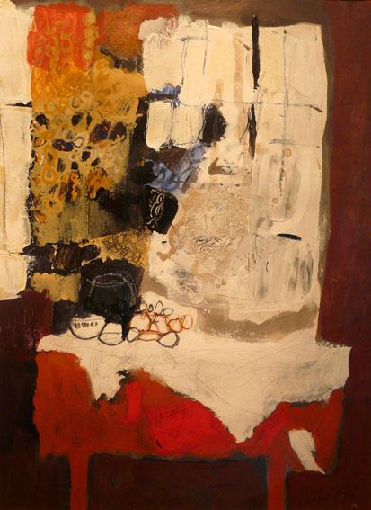 La table rouge Huile sur papier - 40 x 30 cm