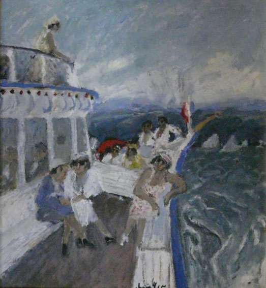 Le bateau Huile sur papier - 38 x 34,5 cm