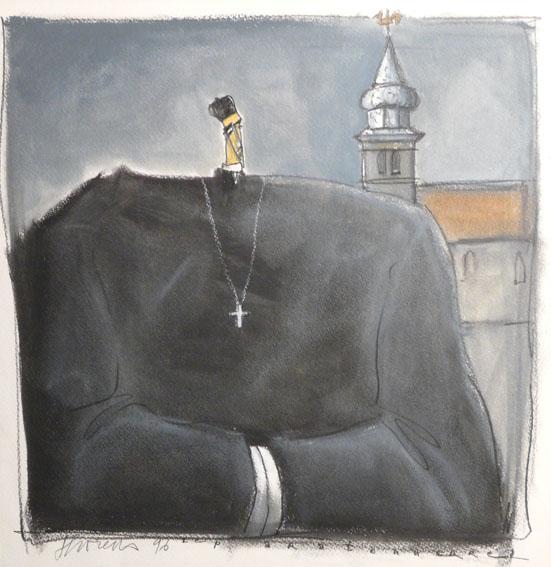 Le paratonnerre Pastel gras - 32 x 33 cm - 1996