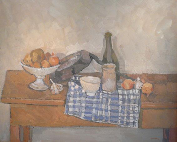 Les carreaux bleus Huile sur toile - 80 x 98 cm - 1991