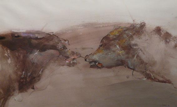 Loups Techniques mixtes - 52 x 85 cm - 2004