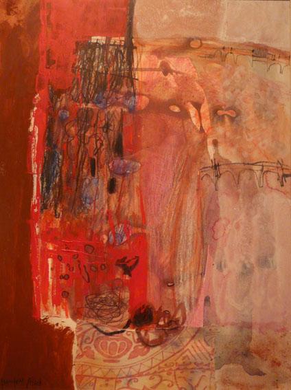 Ouverture rouge sur 2 ponts Huile sur papier - 40 x 30 cm