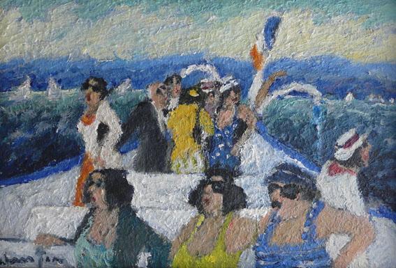 Sur le bateau (entre Evian et Ouchy) Huile - 24 x 35 cm