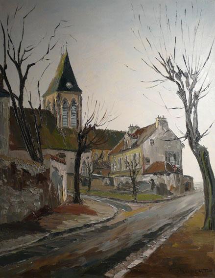 Eglise d'Herblay. 28 septembre 1965 Huile sur toile - 92 x 73 cm - 1965
