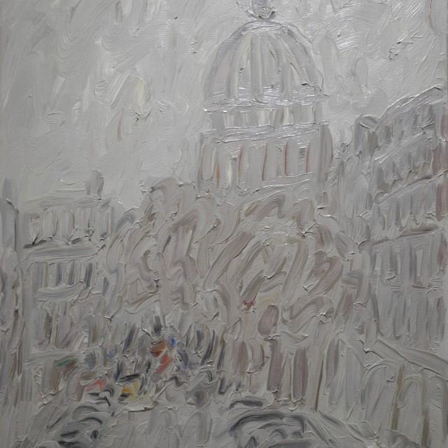 GAMBUS, Ville. Matin de Paris, huile sur toile, 41x33 cm