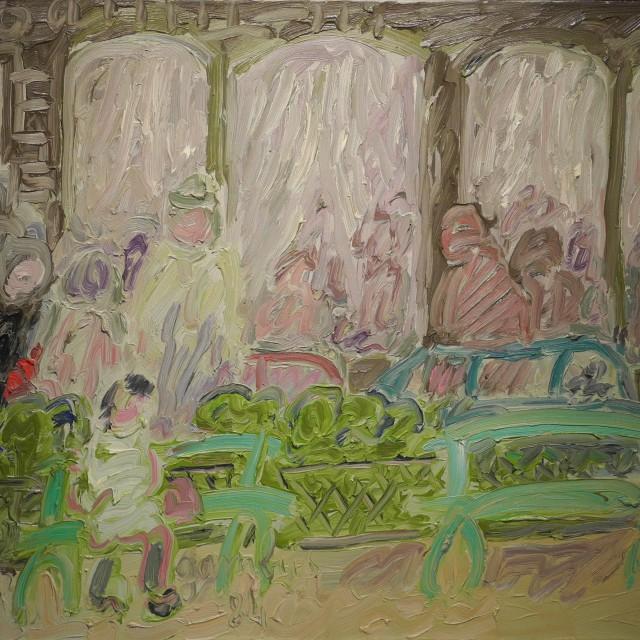 GAMBUS, En attendant, huile sur toile, 50x61cm