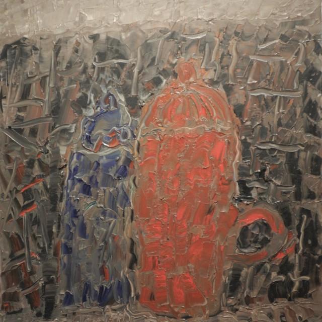 GAMBUS, Grands pots, huile sur toile, 65x54 cm