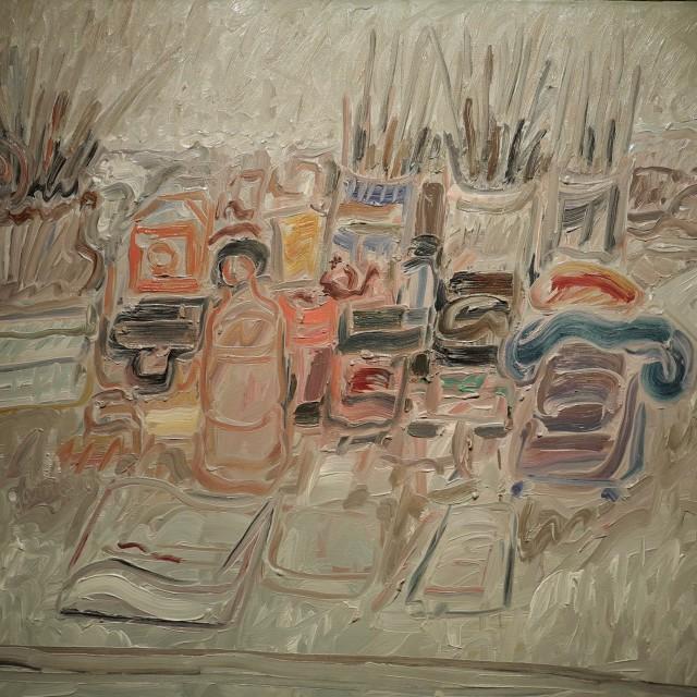 GAMBUS, Le téléphone bleu, huile sur toile, 81x100 cm