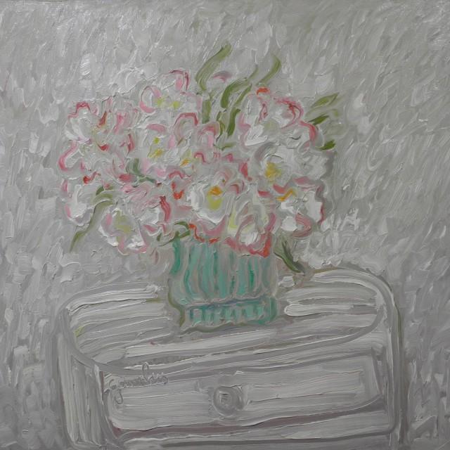 GAMBUS, La fête en blanc, huile sur toile, 65x81 cm