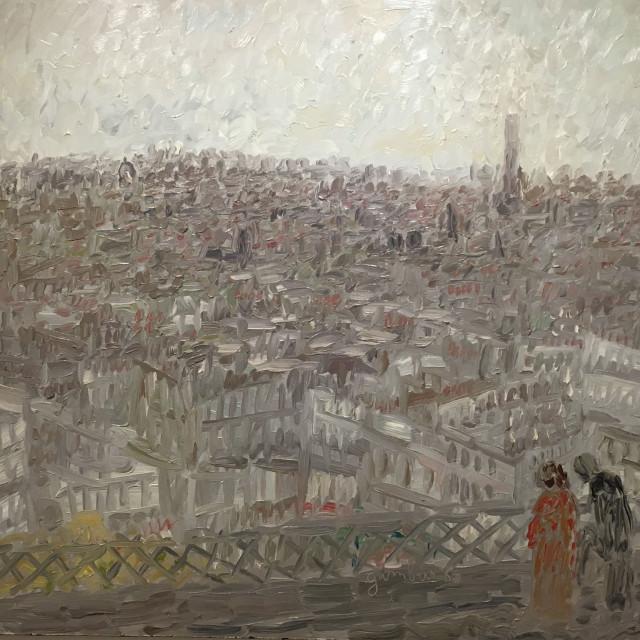 GAMBUS Toits de Paris huile sur panneau,  97x130 cm